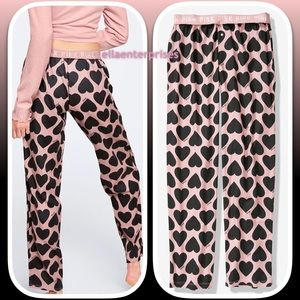 VS Pink Chalk Rose Black Hearts Sleep Pant